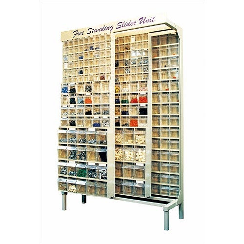 Quantum Storage Free Standing Slider Storage System with 5, 6 and 9 Compartment Tip Out Bins