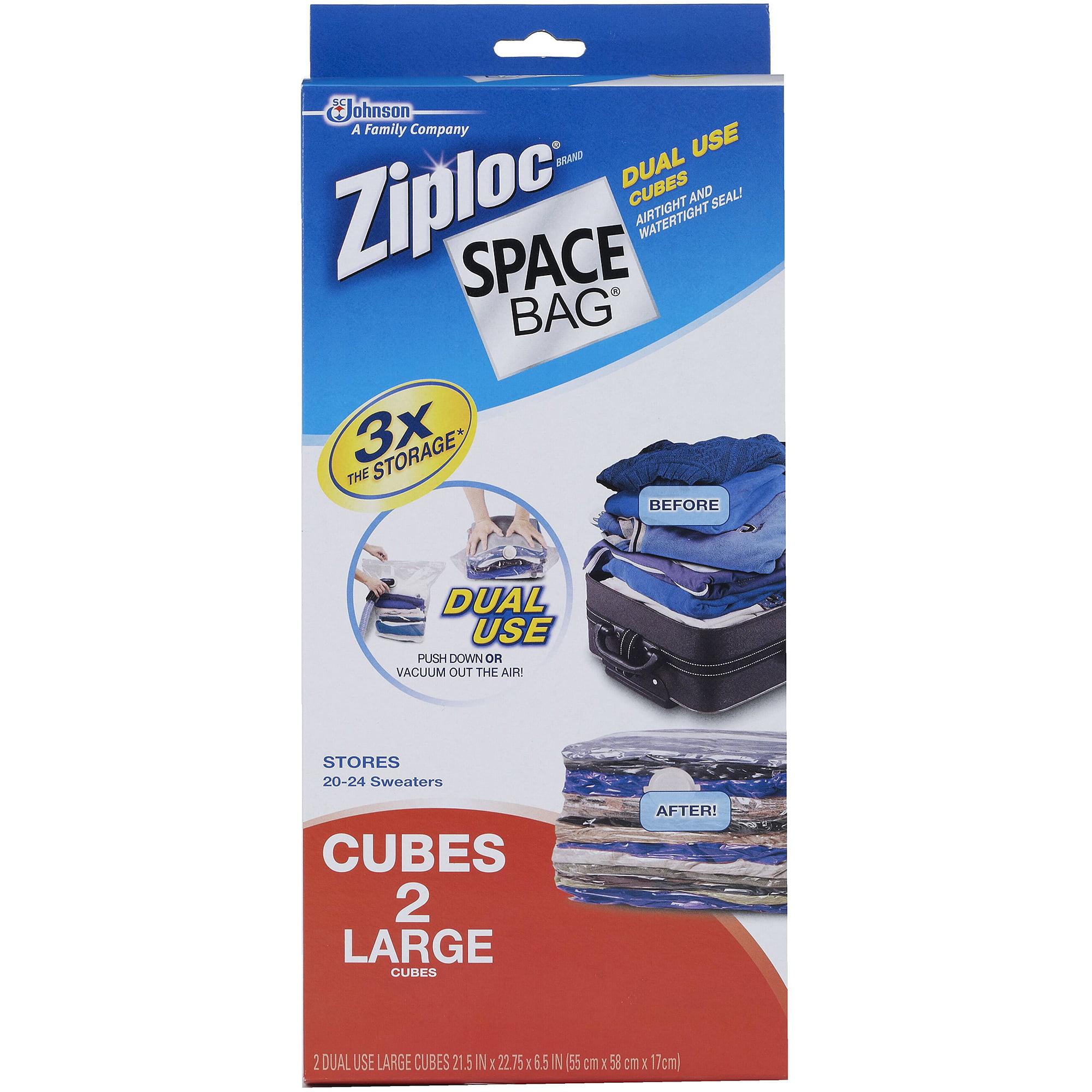 Ziploc Large Cube Space Bag Vacuum Seal Bags, 2-Pack