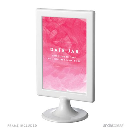 Date Jar - Share Best Date Idea Pink Watercolor Wedding Framed Party Signs