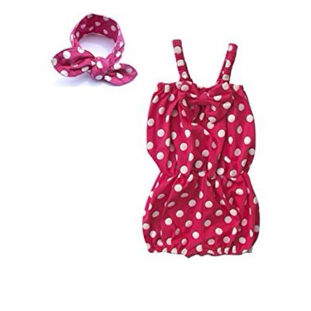 24 Months 2 Piece - Baby-Girls 2 Piece Polka Dot Romper and Matching Headband (0-6 Months, Hot Pink)