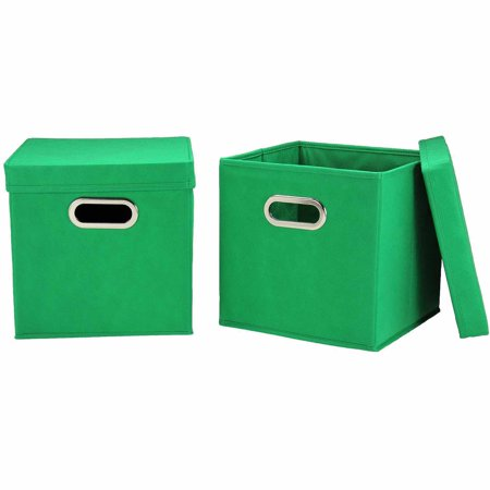 household essentials storage cubes with lids 2pk small kelly green. Black Bedroom Furniture Sets. Home Design Ideas