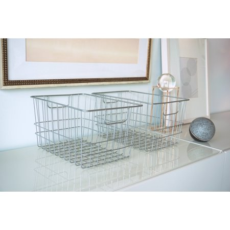 Handcrafted 4 Home Metal Wire Rectangular Basket, Silver (Set of