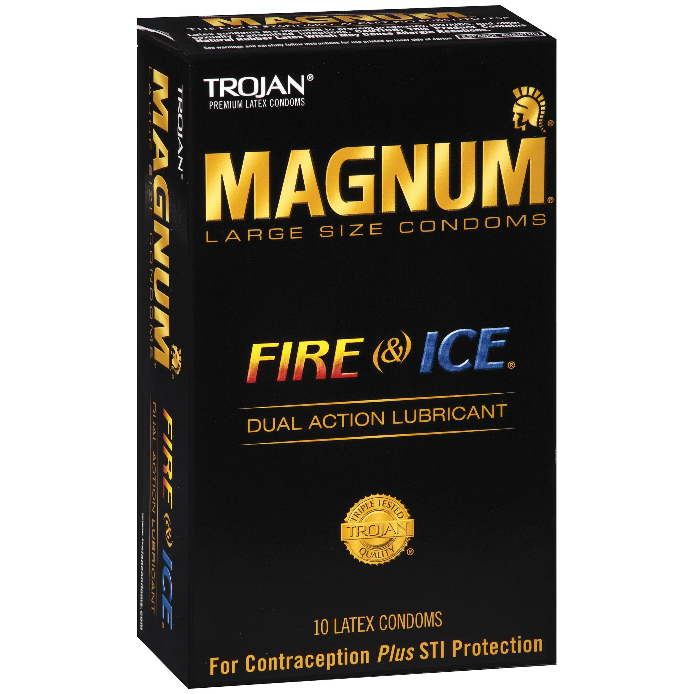 Trojan Magnum Fire and Ice Large Size Lubricated Latex Condoms - 10 ct