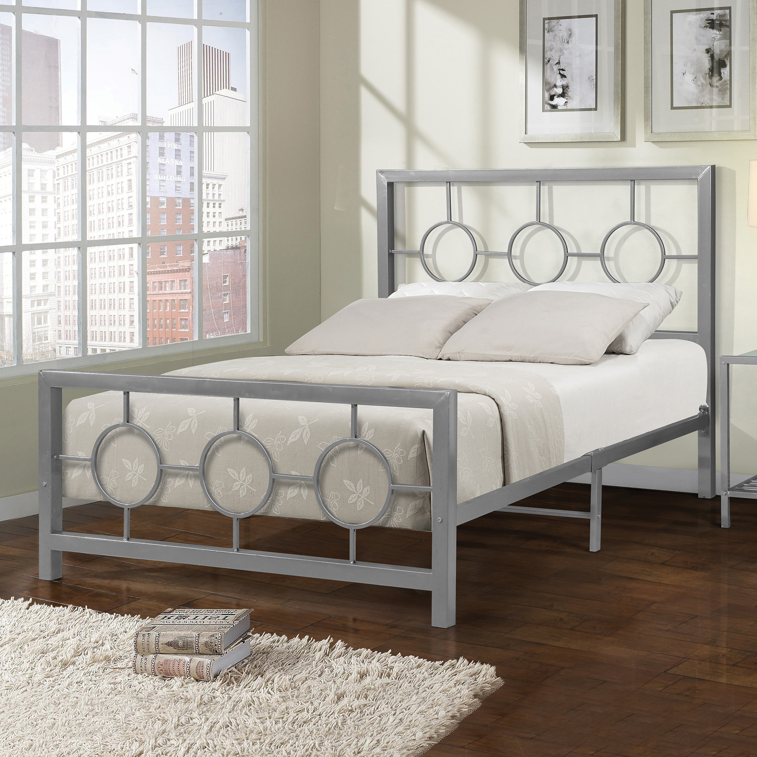 Home Source Eternity Metal Circle Design Full Bed Frame ...