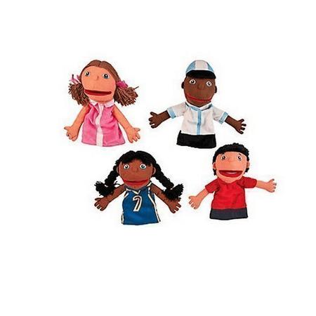 Plush Hand Puppets, Happy Kids, Set of 4 Puppets Bear Plush Hand Puppet