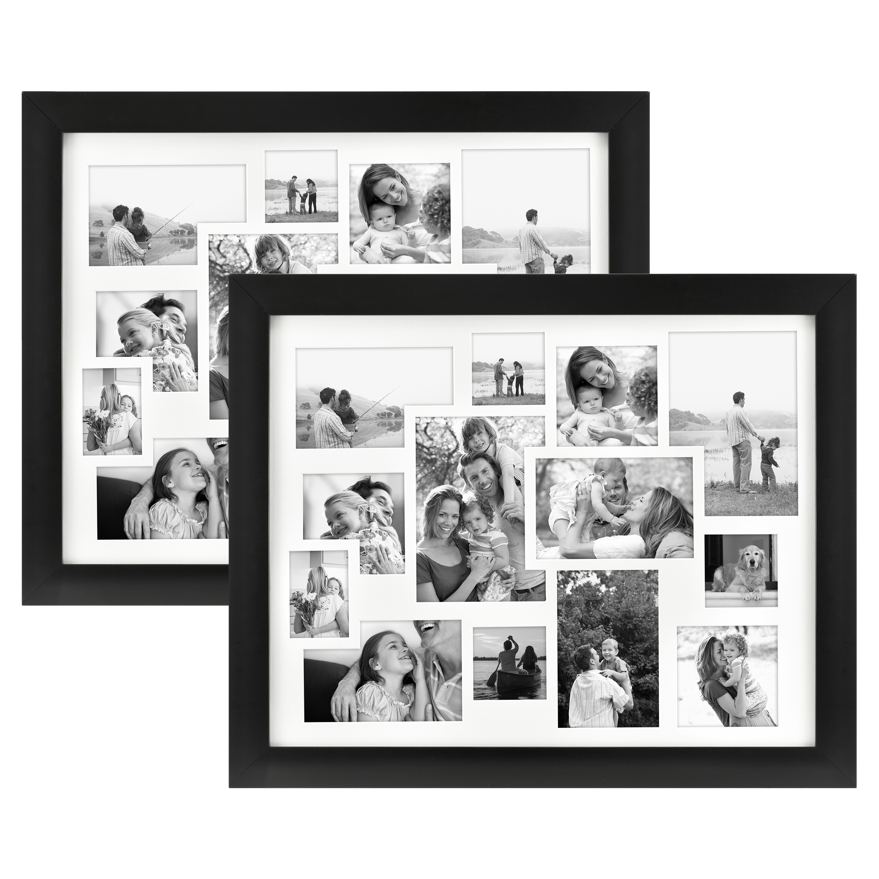 """Set of Two 16"""" x 20"""" Black Collage Matted Photo Frames - Walmart.com"""