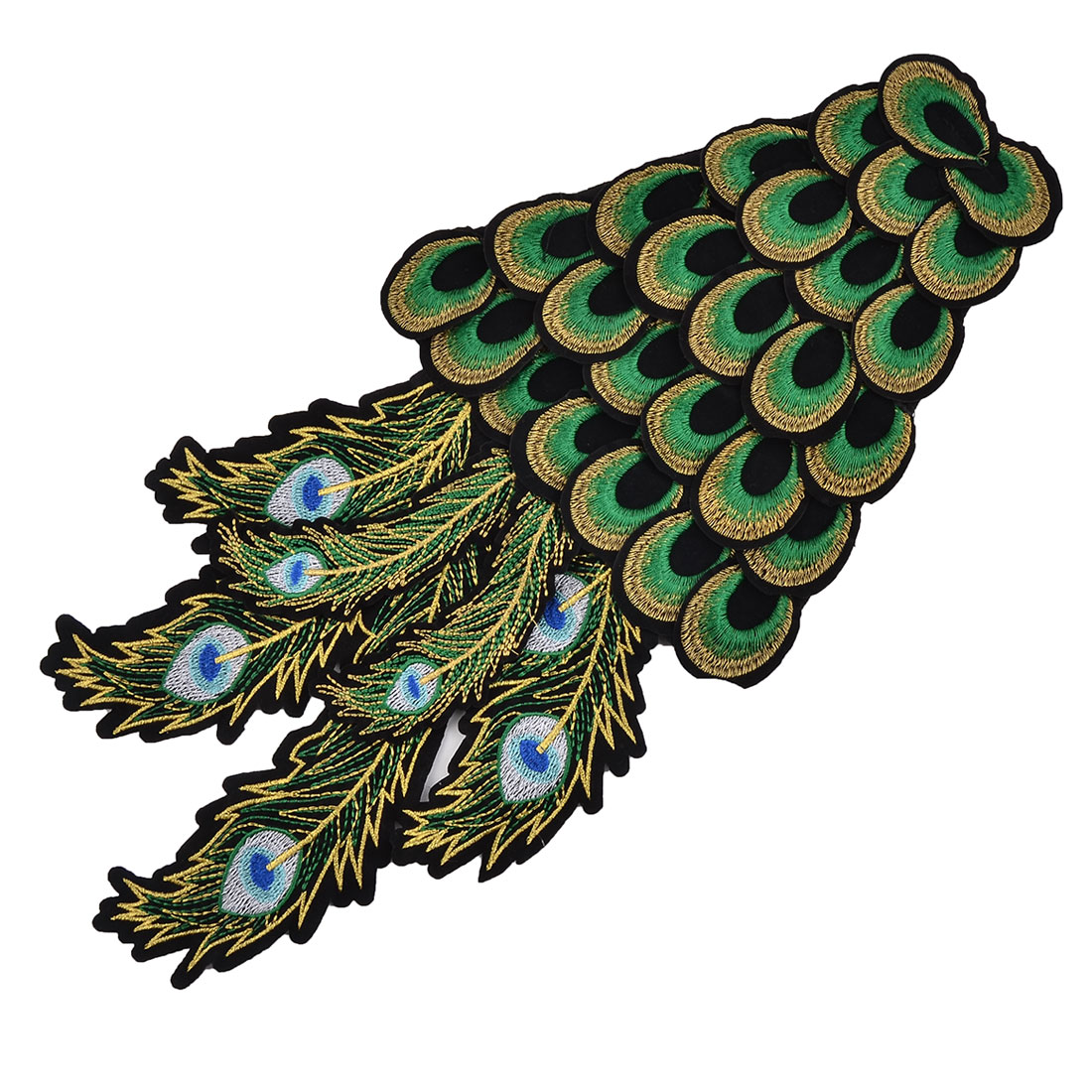 Unique Bargains Polyester Peacock Shape DIY Craft Sewing Clothes Patch Decor Lace Applique Green
