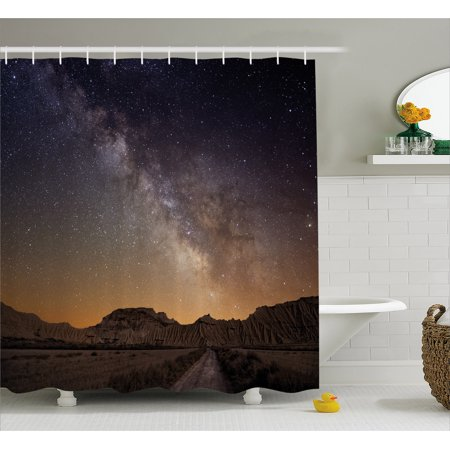 Night Shower Curtain, Milky Way over Desert of Bardenas Spain Ethereal View Hills Arid Country, Fabric Bathroom Set with Hooks, Plum Apricot Chocolate, by Ambesonne