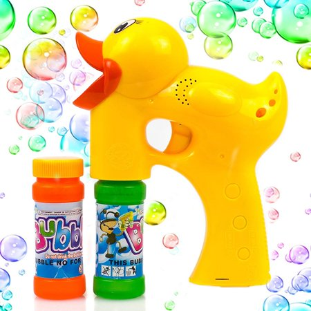 Duck Bubble Shooter Gun Toy With Sounds and Music-2 Bottles of Solution