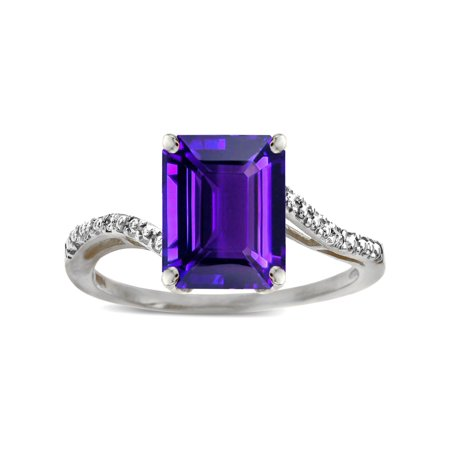 Star K Big Stone Octagon Emerald Cut 10x8 Amethyst Bypass solitaire ring