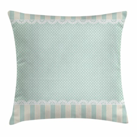 - Shabby Chic Decor Throw Pillow Cushion Cover, Traditional Old Fashioned Vertical Stripes Ornaments Dots, Decorative Square Accent Pillow Case, 18 X 18 Inches, Almong Green Cream White, by Ambesonne