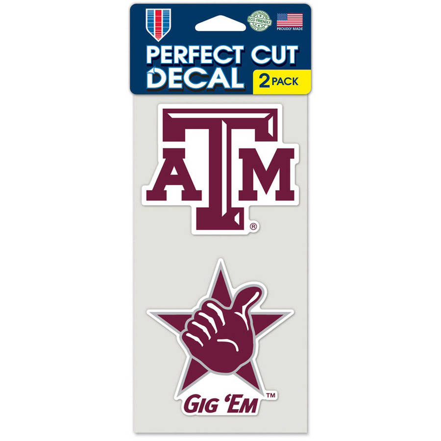 Ncaa texas a x 4 die cut car decal