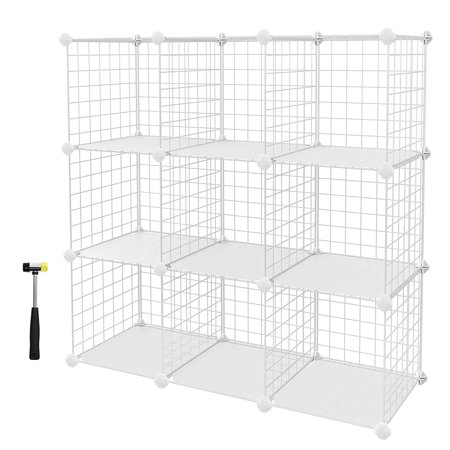 SONGMICS 9-Cube Metal Wire Storage Cubes, DIY Closet Cabinet and Modular Shelving Grids, Wire Mesh Shelves and Rack