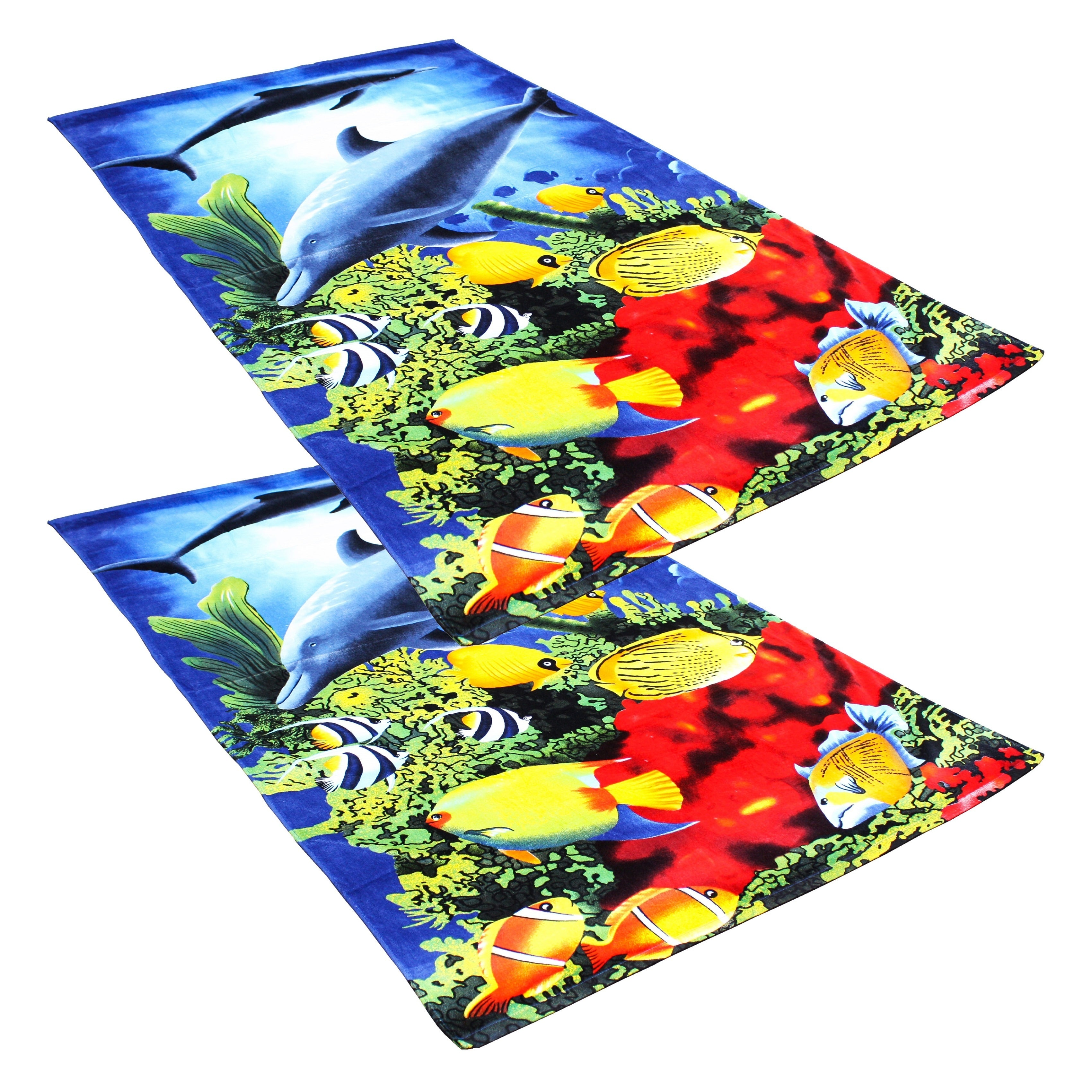 J & M Home Fashions  Dolphin Reef 40x70 Fiber Reactive Beach Towels (set of 2)