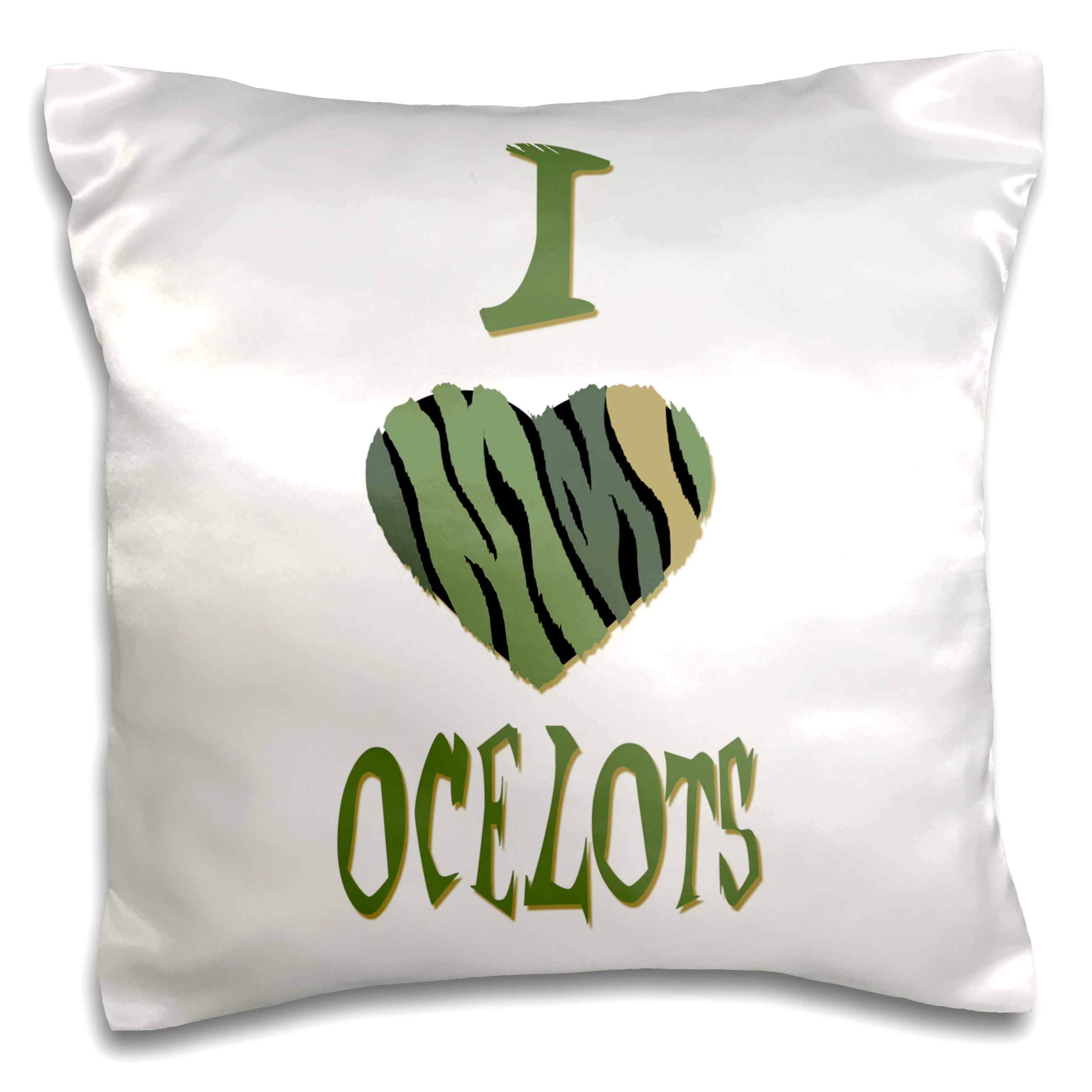 3dRose  Camo Colored Striped I Love Ocelots, Pillow Case, 16 by 16-inch