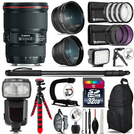 Canon 16 35Mm Is Usm   Pro Flash   Led Light   Tripod   32Gb Accessory Bundle