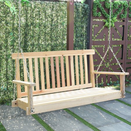 5 Foot American Garden Swing (Costway 4 FT Porch Swing Natural Wood Garden Swing Bench Patio Hanging Seat)