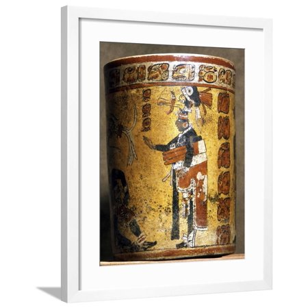 Mayan cylindrical polychromed ceramic vessel, Mexico, late Classic period, c500-900 Framed Print Wall Art By Werner Forman