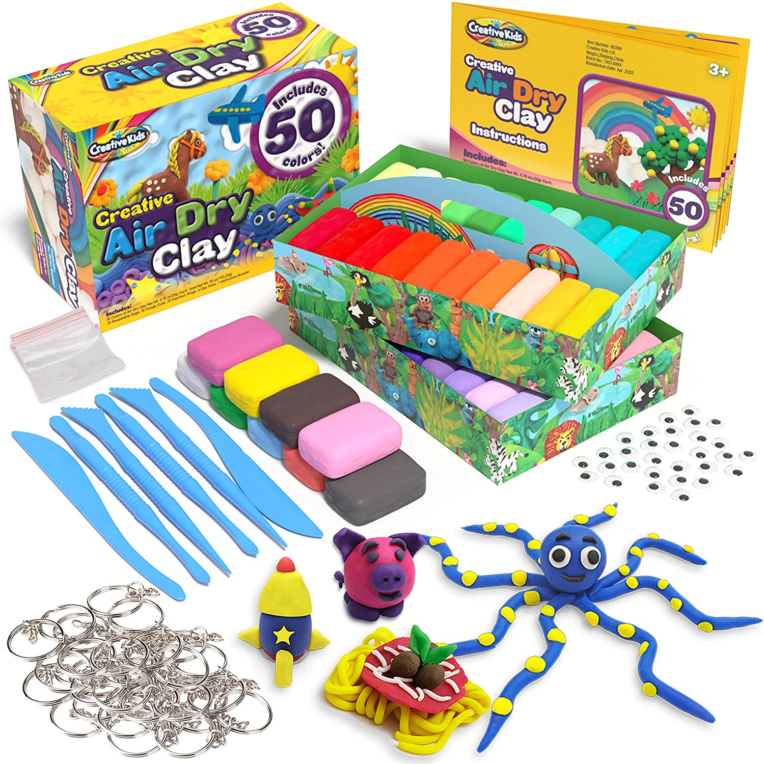 STEM Educational DIY Molding Set Gift for Boys /& Girls 3+ Creative Kids Air Dry Clay Modeling Crafts Kit Super Light Nontoxic 50 Pack Easy Instructions 50 Vibrant Colors /& 6 Clay Tools