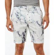 INC NEW White Gray Mens Size 32 Internal Mesh Marble Print Chinos Shorts $49