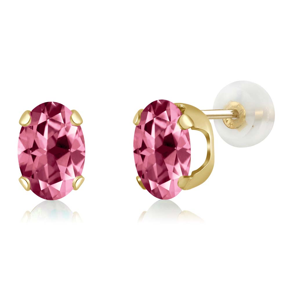 14K Yellow Gold Earrings Set with Oval Pink Topaz from Swarovski by