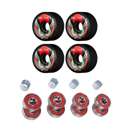 Powell Peralta 64mm 85A Bomber Skateboard Wheels with Cal 7 ABEC-7 Bearings and Spacers