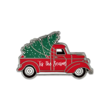 Vintage Red Truck Christmas Decor.Pinmart S Holiday Tis The Season Vintage Red Truck With Christmas Tree Lapel Pin