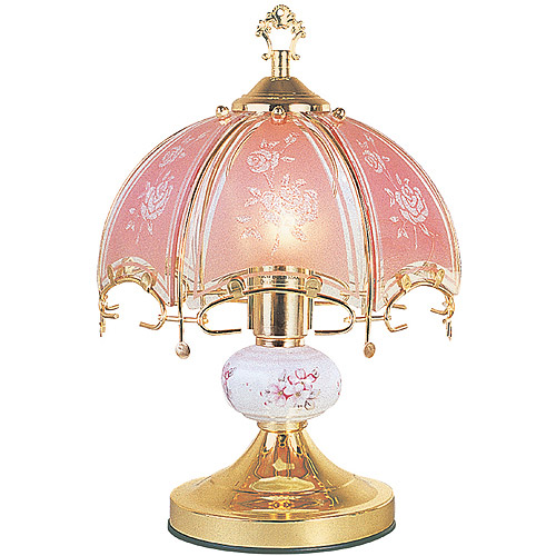 "OK Lighting 14.25"" GoldTouch Lamp With Pink Glass Floral Theme"
