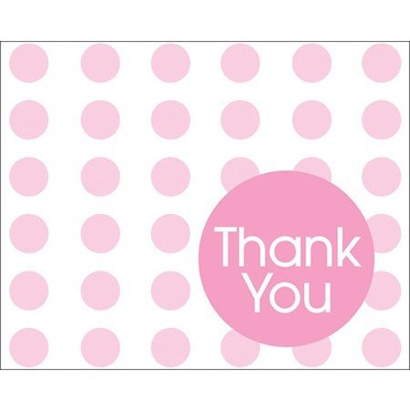 Baby Shower 'Pink Polka Dots' Thank You Notes w/ Envelopes (8ct)