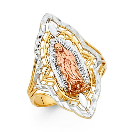 Gemstone Three Stone (FB Jewels 14K Yellow White and Rose Three Color Gold Our Lady of Guadalupe Virgin Mary Ring Size)