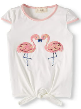 6ae2418a185d Product Image Big Girls' Sequin Flamingo Tie Front Ringer Tee