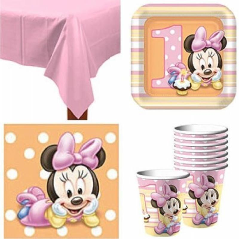 Baby Minnie Mouse 1st Birthday Party Pack Supplies for 16 Guests by