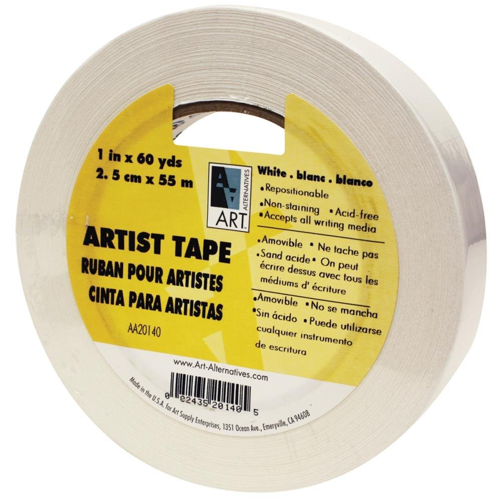White 3M Scotch 3//4-Inch Low Tack Artist Tape