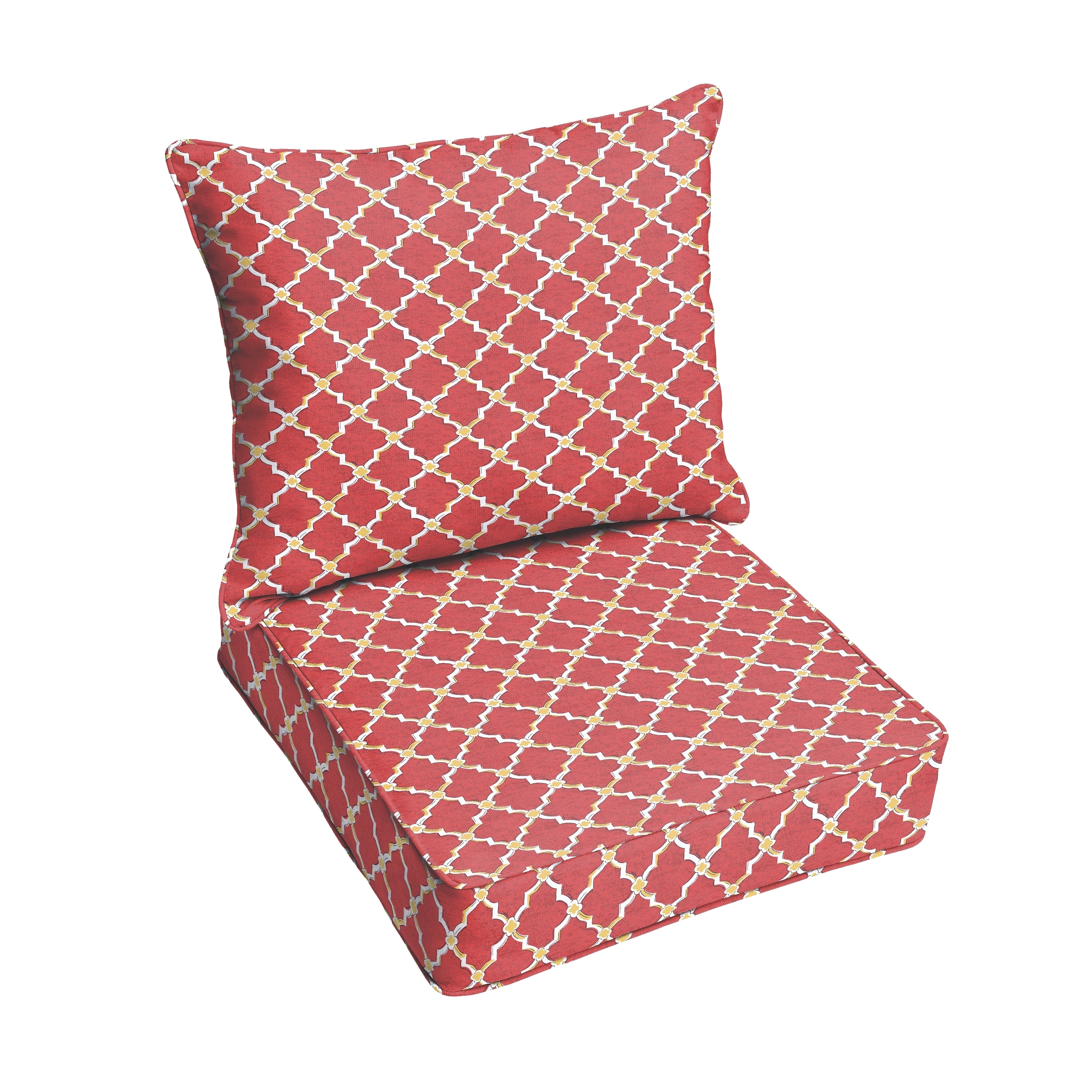 Humble and Haute Red Gold Berry Indoor/ Outdoor Corded Chair Cushion And Pillow Set