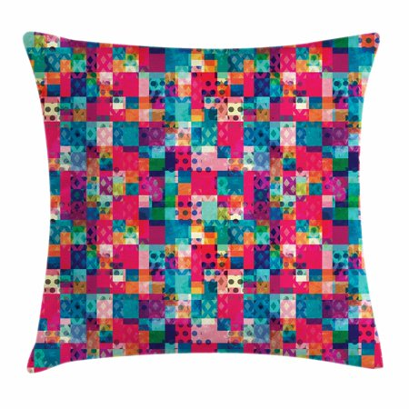 Geometric Throw Pillow Cushion Cover, Fashion Themed Italian Grunge Modern Color Contrast Squares with Dots Artwork, Decorative Square Accent Pillow Case, 18 X 18 Inches, Multicolor, by Ambesonne