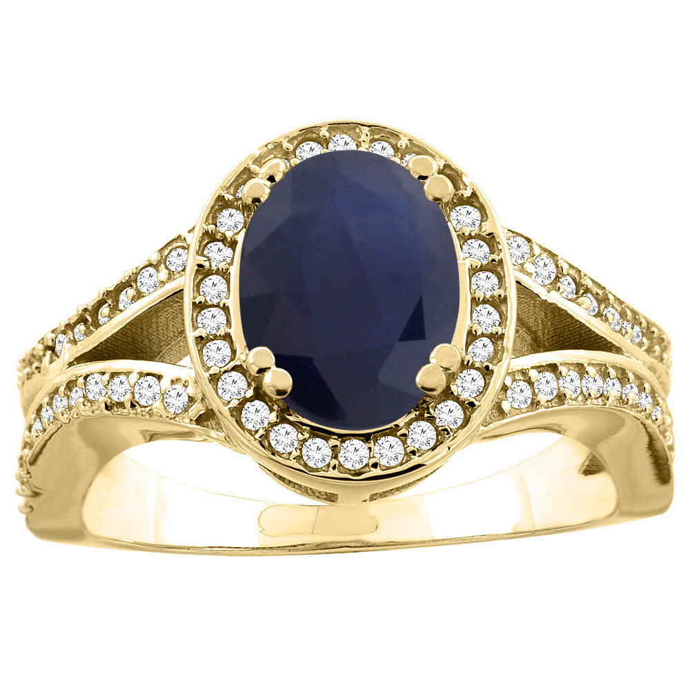 14K Yellow Gold Natural HQ Blue Sapphire Split Ring Oval 8x6mm Diamond Accent, size 5 by Gabriella Gold