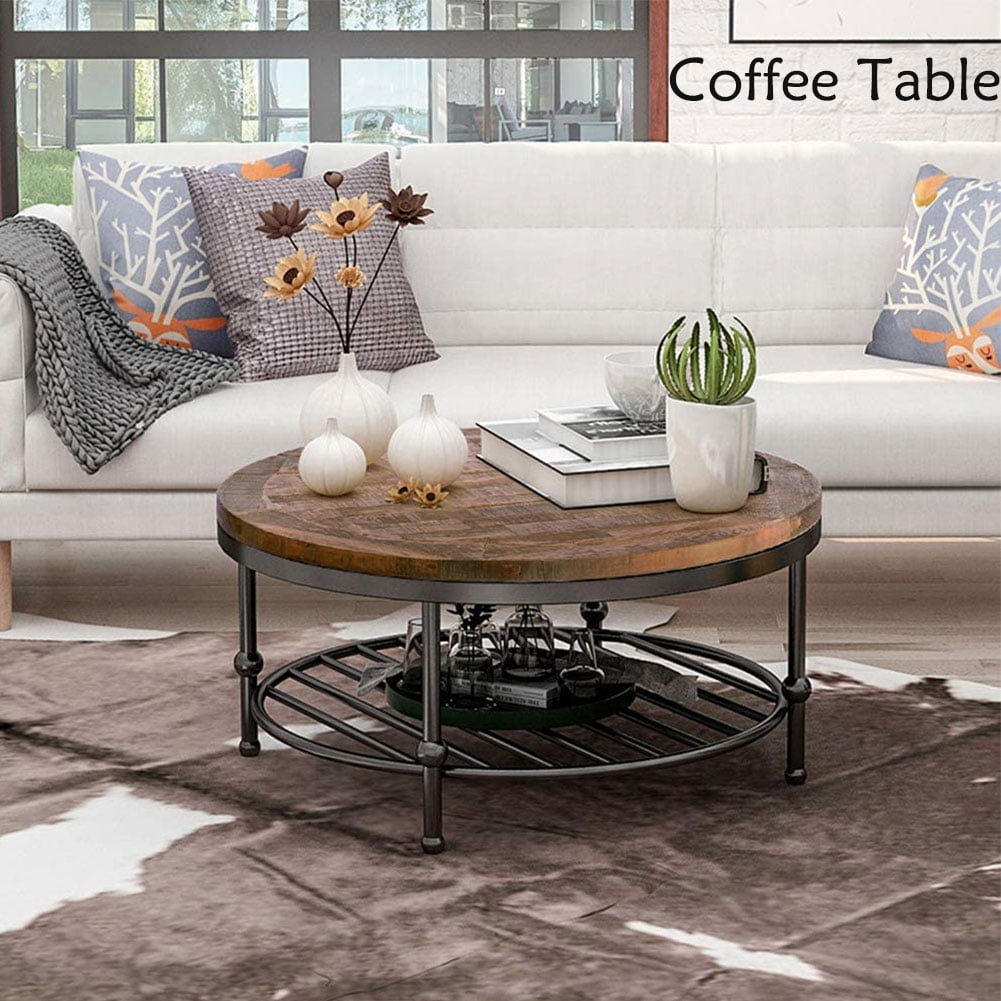 topcobe rustic natural round coffee table 2tier sofa