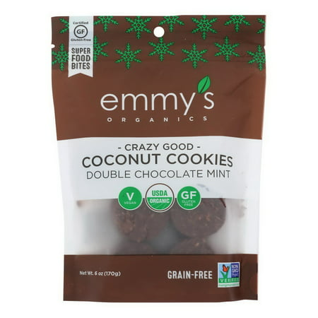 (Price/case)Emmy's Organics - Cookies Double Chocolate Mint - Case of 8 - 6 OZ Organic Chocolate Gingers