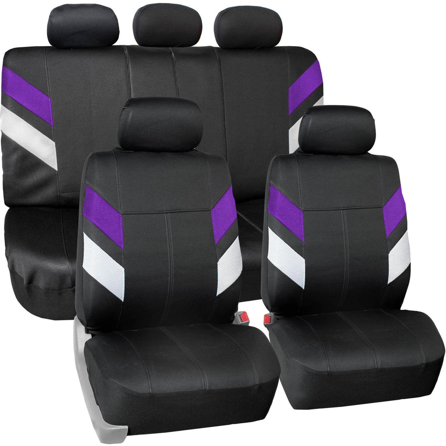 FH Group Modern Edge Waterproof Durable Neoprene Full Set Seat Covers, Purple