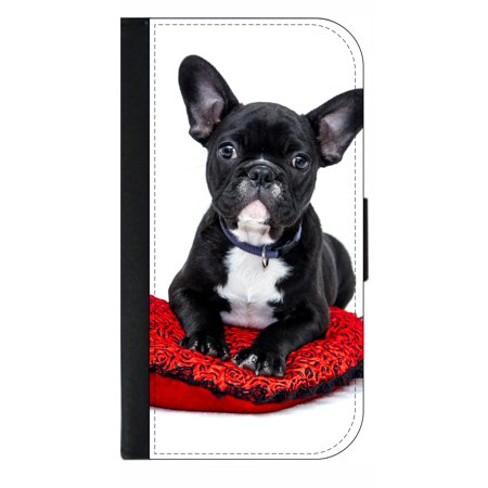 French Bulldog on a Pillow - Wallet Style Phone Case with 2 Card Slots Compatible with the Samsung Galaxy s8+ / s8 Plus - French Style Phone
