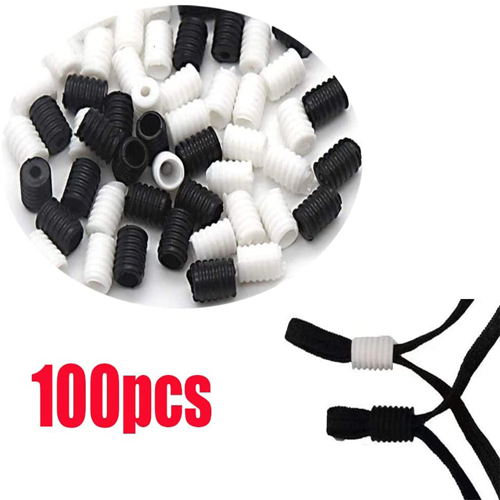 Cord Locks Silicone Toggles for Drawstrings Elastic Cord Adjuster Non Slip Stopper 50pcs, Black ,White,100pcs