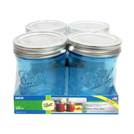 Ball Jar Pint Wide Mouth Elite Blue 4Pc