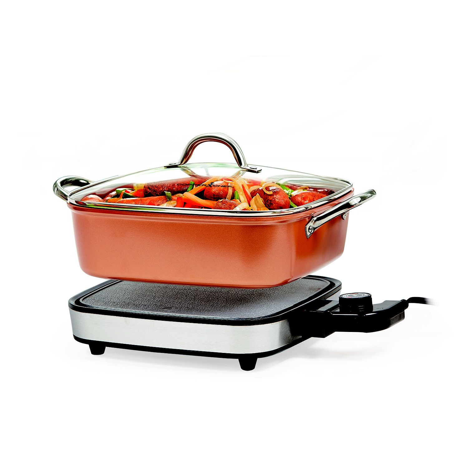 "Copper Chef 12"" Removable 2-Piece Electric Skillet Use as a Skillet, Buffet Server and in The Oven"