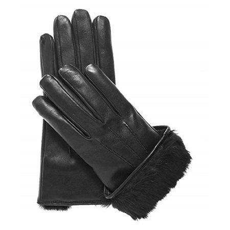 men's black leather fur lined gloves (Mens Rabbit Fur Lined Black Leather Gloves)