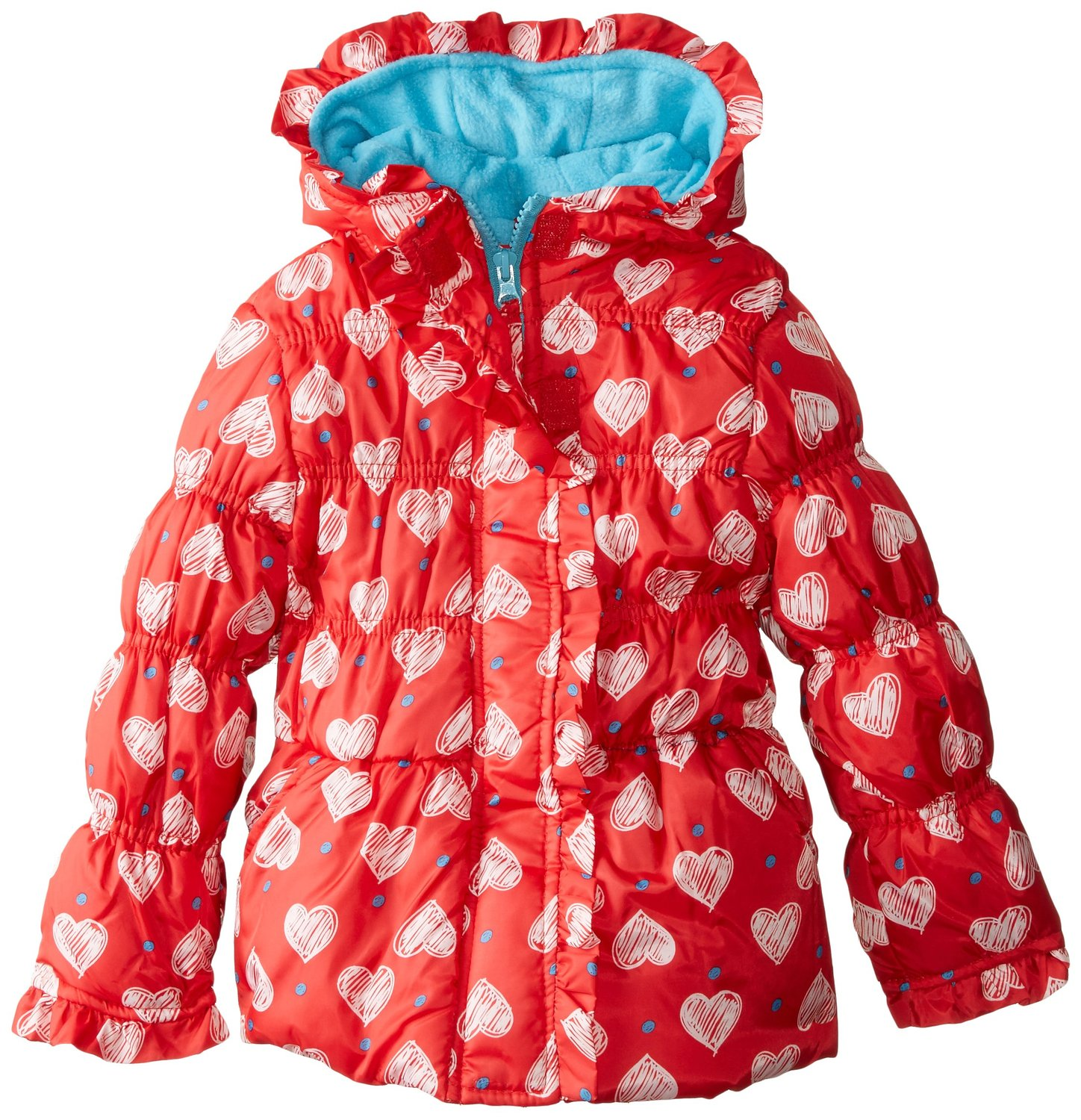 Pink Platinum Little Girls' All Over Heart Print Puffer