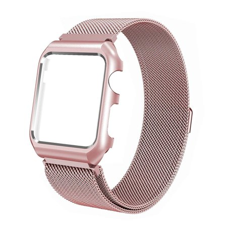 For Apple Watch Band with Case 42mm, Stainless Steel Mesh Milanese Loop with Adjustable Magnetic Closure Replacement Wristband iWatch Band for Apple Watch Series 3 2 1 - Rose Gold ()