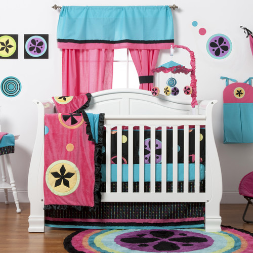 One Grace Place Magical Michayla Infant Crib Bedding Set, Black/Turquoise