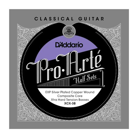 Composite Core - D'Addario XCX-3B Pro-Arte EXP Coated Silver Plated Copper on Composite Core Classical Guitar Half Set, Extra Hard Tension