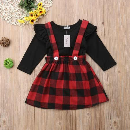 Fashion Christmas Princess Kids Baby Girls 2PCS Outfits Clothes Tops T shirt Plaid Overalls Skirts Party Dress Set