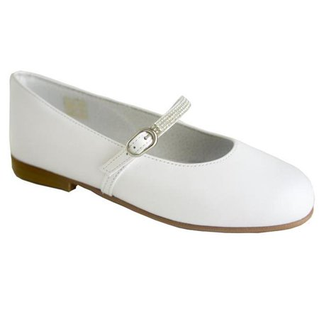 Classic White Leather with Brillants Details for Girls Communion Shoes - Size 2 Girls Communion Shoes
